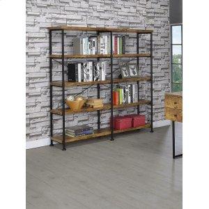 CoasterBarritt Industrial Antique Nutmeg Double-wide Bookcase