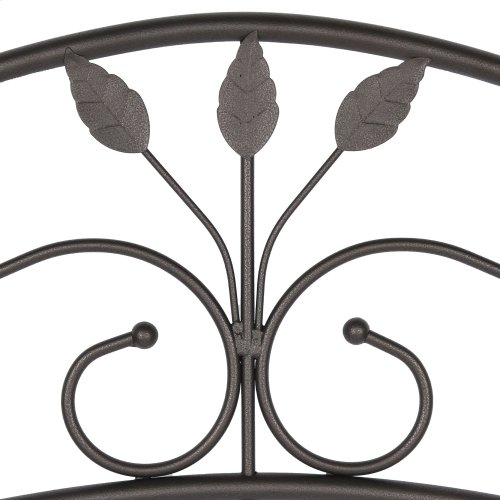 Sycamore Headboard with Arched Metal Panel and Leaf Pattern Design, Hammered Copper Finish, Queen