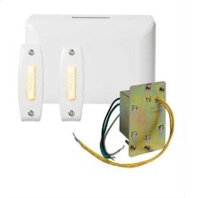 Builder Doorbell Kit with Junction Box Transformer and 2 Lighted White Rectangular Pushbuttons