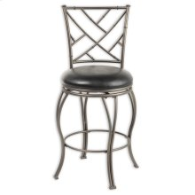 Honolulu Metal Barstool with Black Upholstered Swivel-Seat and Coffee Metal Frame Finish, 30-Inch