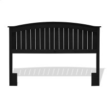 Finley Wood Headboard Panel with Curved Top Rail and Slatted Grill Design, Black Finish, Full / Queen