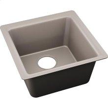 "Elkay Quartz Luxe 15-3/4"" x 15-3/4"" x 7-11/16"", Single Bowl Dual Mount Bar Sink, Silvermist"
