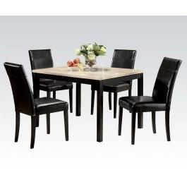 5pc Pk Dining W/wh Faux Marble
