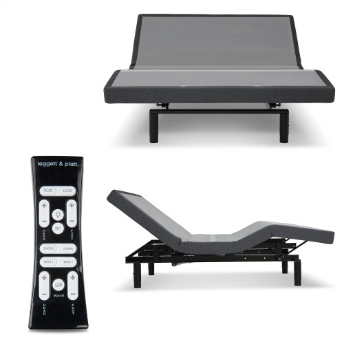S-Cape 2.0+ Adjustable Bed Base with (2) 4-Port USB Hub's and Full Body Massage, Charcoal Gray Finish, Queen