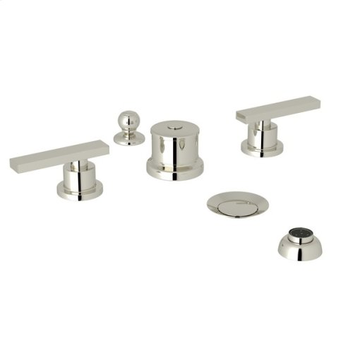 Polished Nickel Pirellone 5-Hole Bidet Faucet with Metal Lever