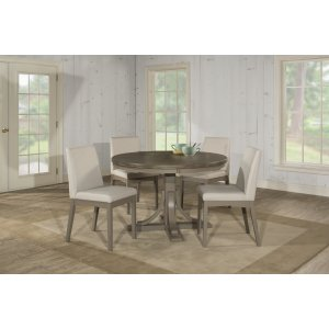 Hillsdale FurnitureClarion 5-piece Round Dining Set With Upholstered Chairs - Distressed Gray