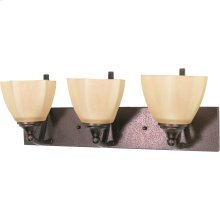 """3-Light 22"""" Copper Bronze Wall Mounted Vanity Light Fixture with Champagne Washed Linen Glass"""