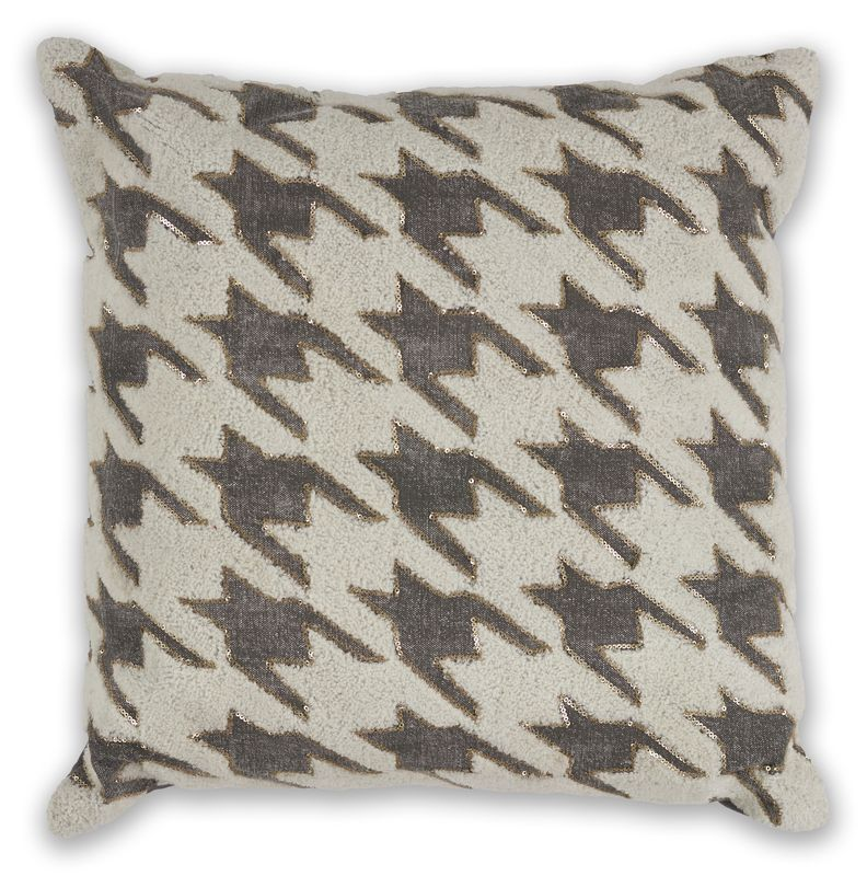 "Pillow L323 Ivory/grey Houndstooth 18"" X 18"""
