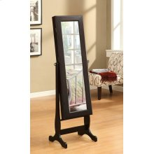 Transitional Cappuccino Cheval Mirror and Jewelry Armoire