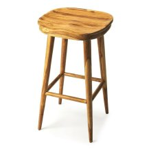 Crafted from acacia wood solids in a natural finish, this stylish Bar Stool features a sculpted seat four tapered legs, the front two traditionally straight and bound with a stretcher and the back two in a whimsical spraddle.