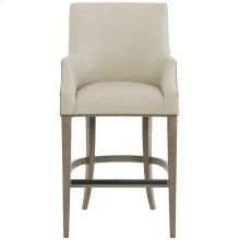 Keeley Leather Bar Stool in Smoke