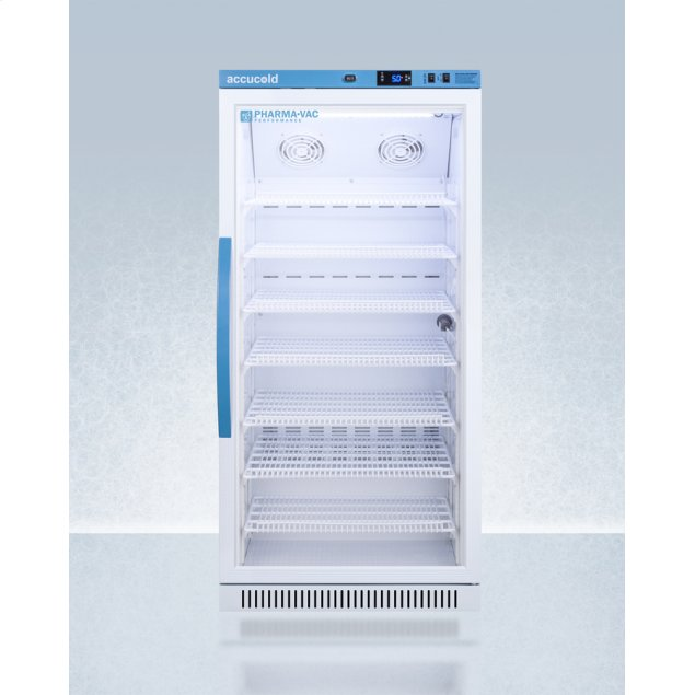 Summit Performance Series Pharma-vac 8 CU.FT. Upright Glass Door Commercial All-refrigerator for the Display and Refrigeration of Vaccines