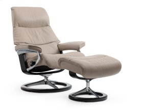 Stressless View Medium Signature Base Chair and Ottoman