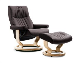 Stressless Crown Small Classic Base Chair and Ottoman