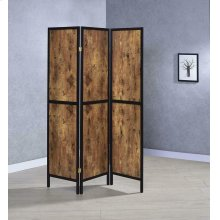 Rustic Antique Nutmeg Three-panel Screen