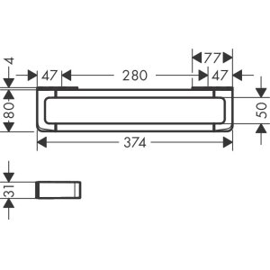 Satin Black Rail grab bar 300 mm