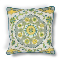 "L194 Blue-green Suzani Pillow 18"" X 18"""