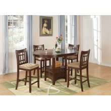Lavon Transitional Warm Brown Five-piece Counter-height Set