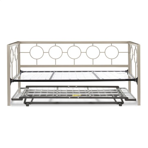 Astoria Complete Metal Daybed with Link Spring Support Frame and Pop-Up Trundle Bed, Champagne Finish, Twin