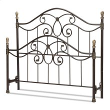 Dynasty Bed with Arched Metal Duo Panels and Scalloped Finial Posts, Autumn Brown Finish, Queen