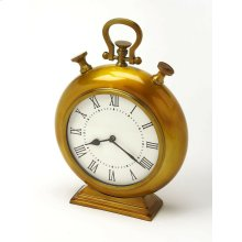 This desk clock is crafted in an chunky gold tone round shape that features Roman numerals over a white face, featuring a kick stand and a sturdy handle. The clock can be placed on any table or shelves , blends with a variety of decor. Makes a great gift.