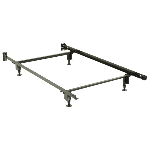 Inst-A-Matic Premium Bed Frame 738G with Headboard Brackets and (4) 2-Piece Glide Legs, Black Finish, Twin