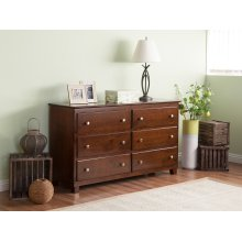 Atlantic 6 Drawer 54 inch Dresser in Walnut