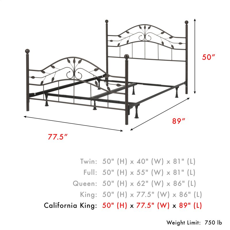 Sycamore Complete Metal Bed and Steel Support Frame with