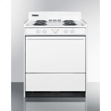 """White 220v Electric Range In 30"""" Width With Storage Compartment"""