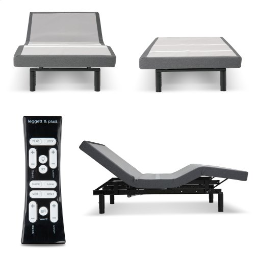 S-Cape+ 2.0 Adjustable Bed Base with (2) 4-Port USB Hub's and Full Body Massage, Charcoal Gray Finish, Twin