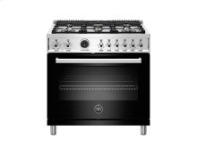 36 inch Dual Fuel Range, 6 Brass Burner, Electric Self-Clean Oven Black