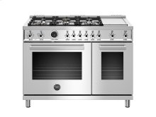 48 inch Dual Fuel Range, 6 Brass Burners and Griddle , Electric Self Clean Oven Stainless