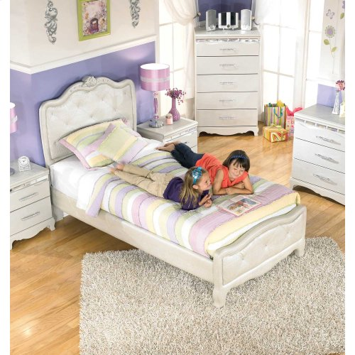 Youth Twin Upholstered Headboard Bed Package