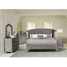 Deanna Bedroom Traditional Metallic Queen Bed