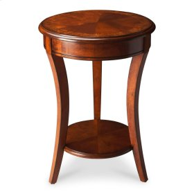The modest proportions of this elegant accent table make ideal for use in small spaces. Crafted from select hardwood solids and wood products, it features a rich Olive Ash Burl finish with a display shelf below. It boasts a matched cherry veneer top with