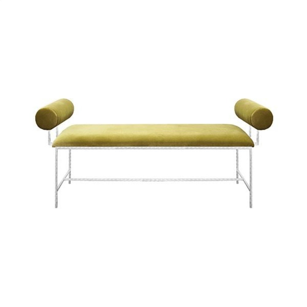 Bolster Arm Silver Leaf Bench In Lime Green Velvet - Seat Height 17""