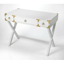 This timeless Campaign writing desk is an inspired addition to a contemporary space. Crafted from mango wood solids and wood products, it features a snappy Glossy White finish accentuated with polished gold pull rings on each of three drawers and matching