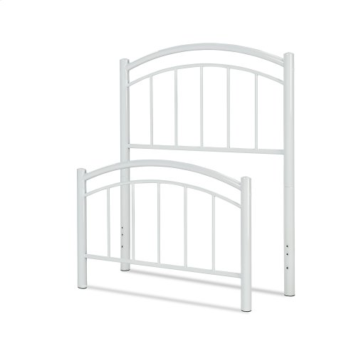 Rylan Fashion Kids Metal Headboard and Footboard Bed Panels with Gently Arced Top Rails and Vertical Spindles, Cotton White Finish, Twin