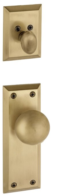 Grandeur - Single Cylinder Combo Pack Keyed Differently - Fifth Avenue Plate with Fifth Avenue Knob and Matching Deadbolt in Vintage Brass