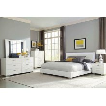 Felicity Contemporary Glossy White Lighted Queen Bed