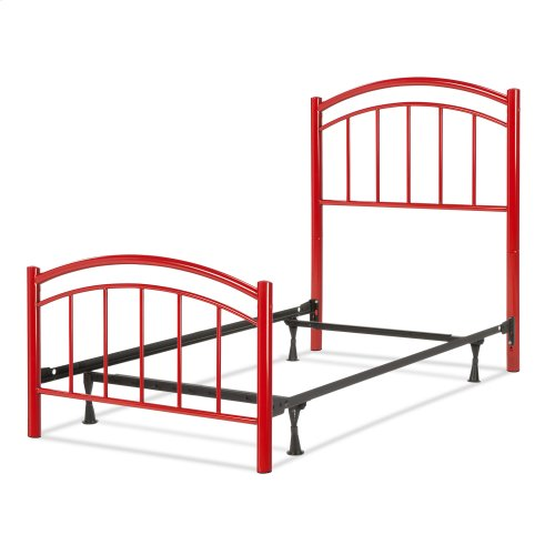 Rylan Fashion Kids Complete Metal Bed and Steel Support Frame with Gently Arced Panels and Vertical Spindles, Tomato Red Finish, Twin