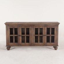 "Colonial Glass Cabinet 70"" 4 Doors Weathered Teak"