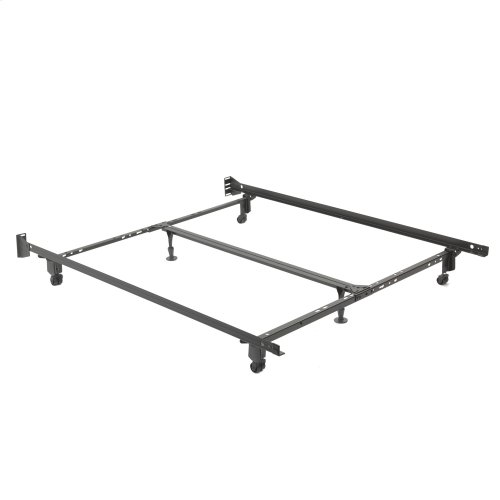 "Uni-Matic 83456R Universal Bed Frame with Fixed Headboard Brackets and 2"" Locking Rug Rollers, Twin / King"