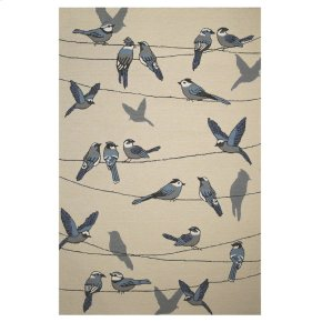 """CLEARANCE ITEM--Harbor 4221 Ivory Birds On A Wire 5' X 7'6"""""""