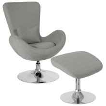 Light Gray Fabric Side Reception Chair with Ottoman