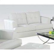 White Bonded Leather Loveseat Product Image
