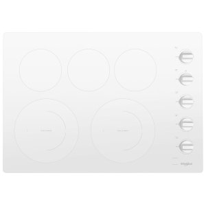 30-inch Electric Ceramic Glass Cooktop with Two Dual Radiant Elements White - WHITE