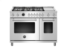 48 inch Dual Fuel Range, 6 brass burners and Griddle, Electric Self-Clean Oven Stainless