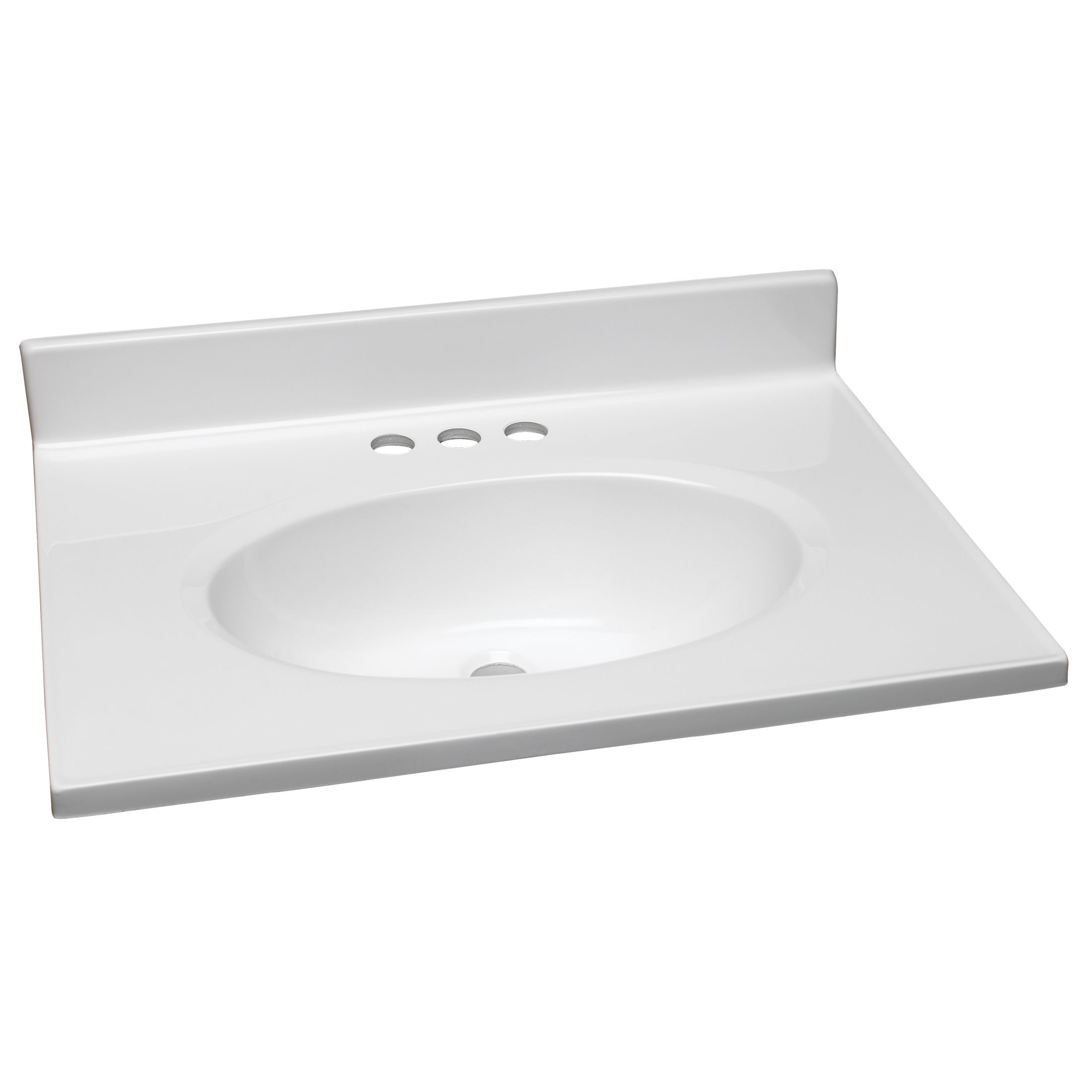 25-Inch by 19-Inch Marble Vanity Top/Single Bowl, Solid White #551267