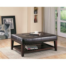 Transitional Cappuccino Button Tufted Ottoman